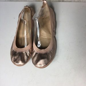 Yosi Samra YS women's Rose gold leather flats SZ11